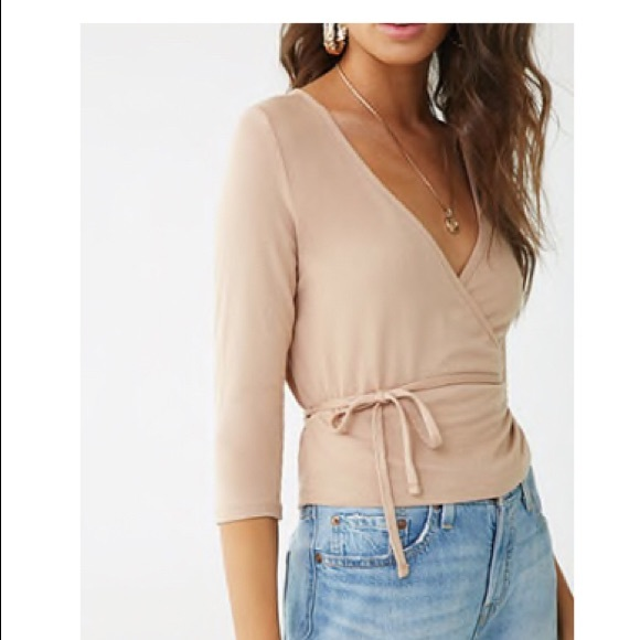 Forever 21 Tops - Forever 21 nude wrap top SZ M